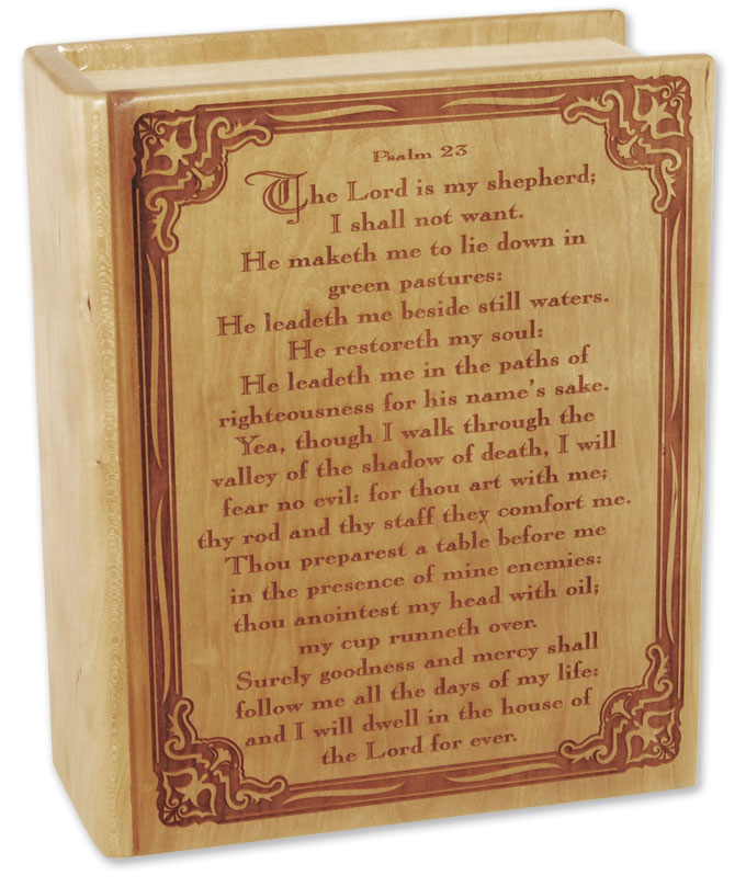 Cremation urn with Psalm 23