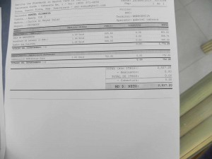 Bill for Hospital and X-rays