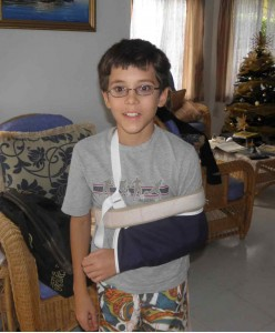 Samuel with broken arm