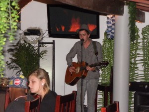 Jeremy singing in a bar